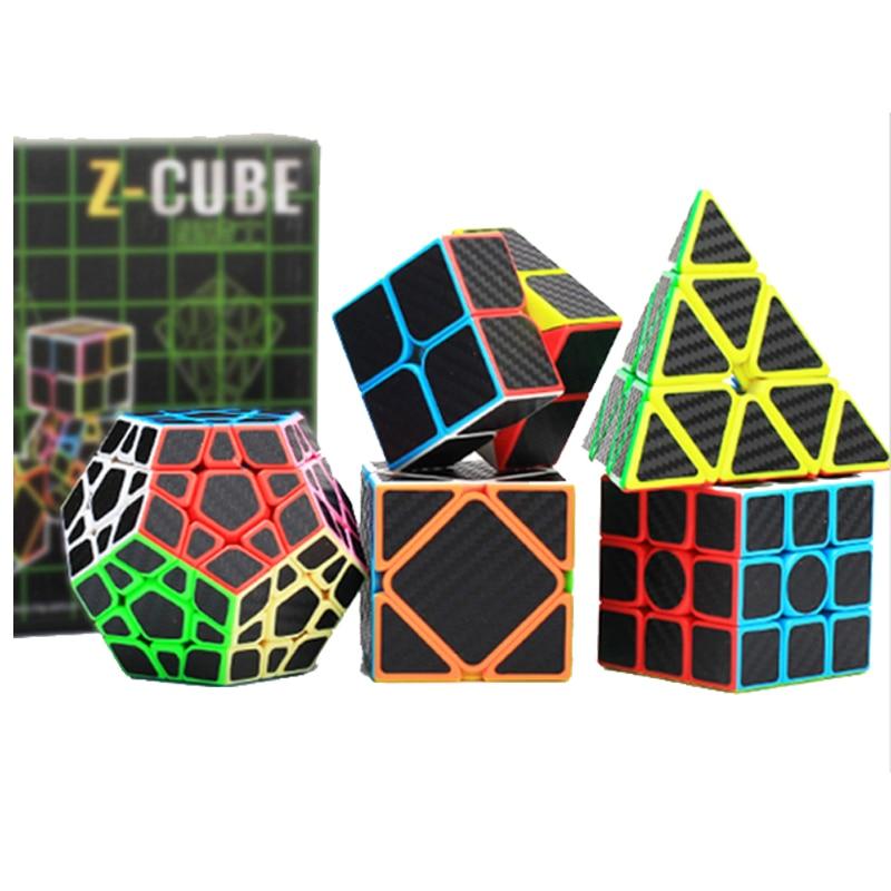 5 pcs En Fiber De Carbone Autocollant Magic Speed Cube 2x2x2 3x3x3 4x4x4 Megaminx Cube Éducatifs Puzzle Cube Cubo Magico