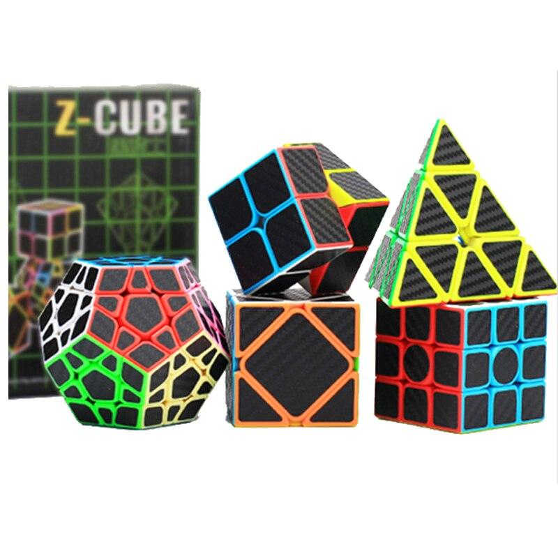 5 pièces En Fiber De Carbone Autocollant Magique Cube de Vitesse 2x2x2 3x3x3 4x4x4 Megaminx Cube Puzzle Éducatif Cube Magique Cubo