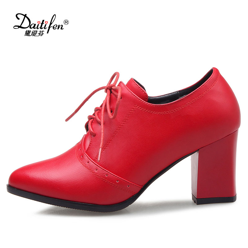 Daitifen 2018 new fashion women boots lace up platform patent pu leather autumn ankle boots thick heels lady Wedding party shoes 2015 new style women blue wedge boots pu leather women white autumn boots lace up platform boots x793 5