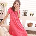 Панас ди penjualan! Женщины в кружево аппликация сексуальный женщина длинная шелк ночная рубашка пункт 7 цветов