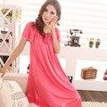 Panas di penjualan! nuevas mujeres de la moda de encaje apliques mujer sexy camisón de seda larga del párrafo 7 colores, envío gratis