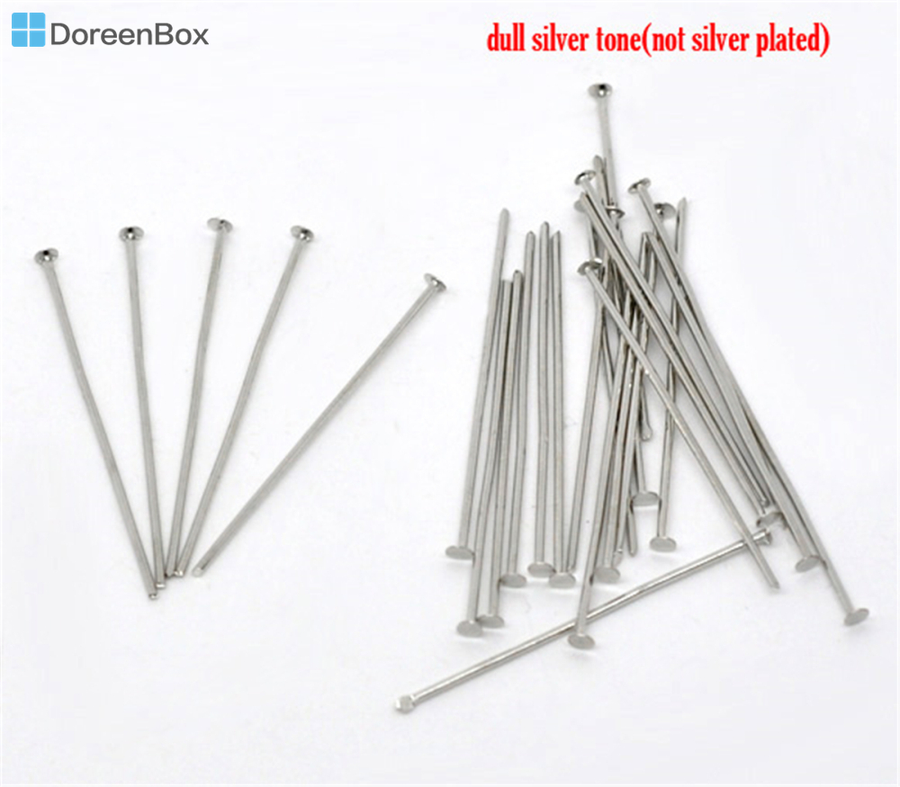 400 PCs Silver Plated Ball Head Pins Findings 30x0.7mm 21 gauge
