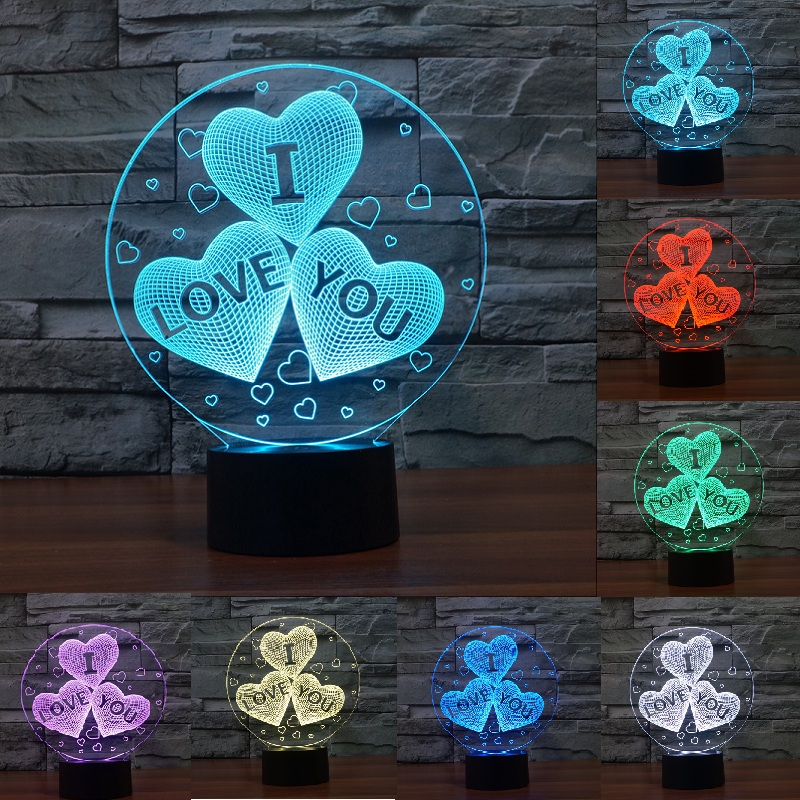 Acrylic 7 Color Changing USB charge 3D HEART I LOVE YOU LED night light with 3D