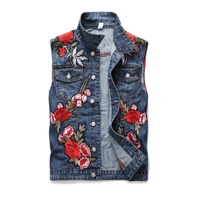 5d6c52e66c2 Blue Floral Embroidery Applique Jean Vest Men Summer 2018 Veste Femme Denim  Vest Gilet Colete Feminino Waistcoat Plus Size M-3XL