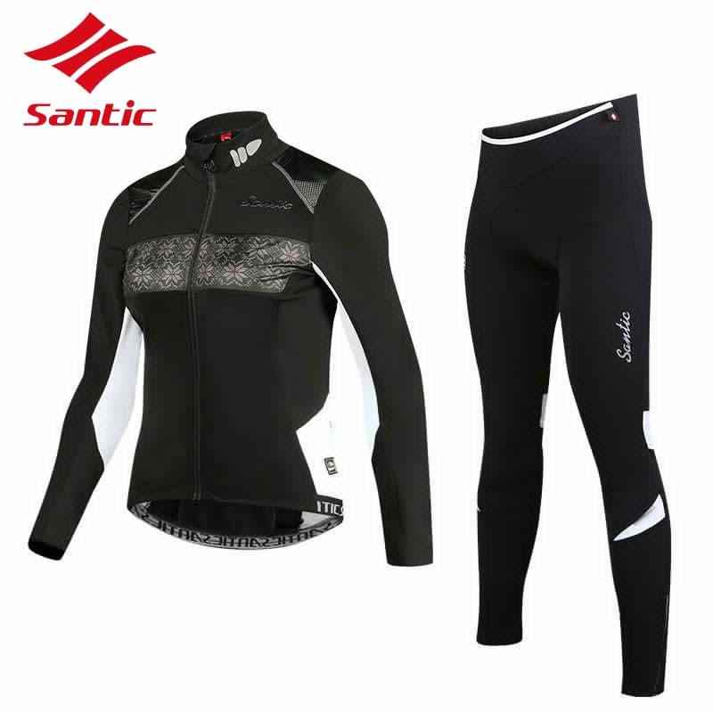 Santic Winter Cycling Jersey Set Women Warm Thermal Fleece Outdoor Cycling Clothing MTB Road Bike Bicycle Clothes Ropa Ciclismo black thermal fleece cycling clothing winter fleece long adequate quality cycling jersey bicycle clothing cc5081