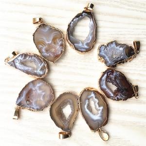 Image 3 - Nieuwe Natuursteen Braziliaanse Gegalvaniseerde Randen Slice Open Agaat Geode Drusy Druzys Hangers Voor Vrouwen Ketting sieraden Maken