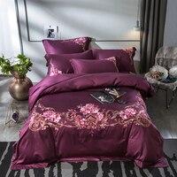 2018 код 100% египетского хлопка Фиолетовый Синий постельные принадлежности пододеяльник устанавливает дворец вышивка постельное белье плоск