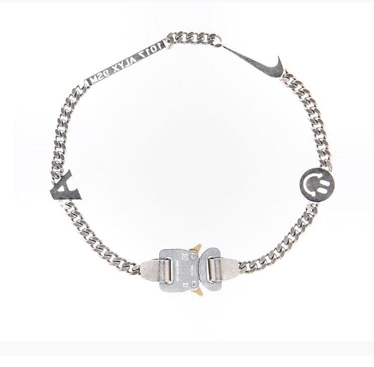 2019 1017 ALYX STUDIO LOGO cadena de Metal collar pulsera cinturones hombres mujeres Hip Hop Exterior Accesorios de la calle Festival regalos-in Collares de cadena from Joyería y accesorios    1