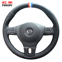 PONSNY Artificial Leather Car Steering Wheel Covers for Volkswagen VW Gol Tiguan Passat B7 Passat CC Touran Jetta Mk6