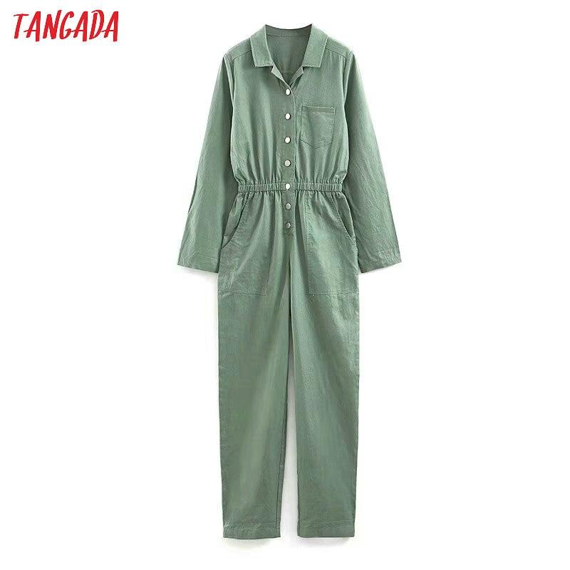 Tangada women stylish green   jumpsuits   2019 autumn winter turn down collar tunic vintage female high street playsuits JNA24