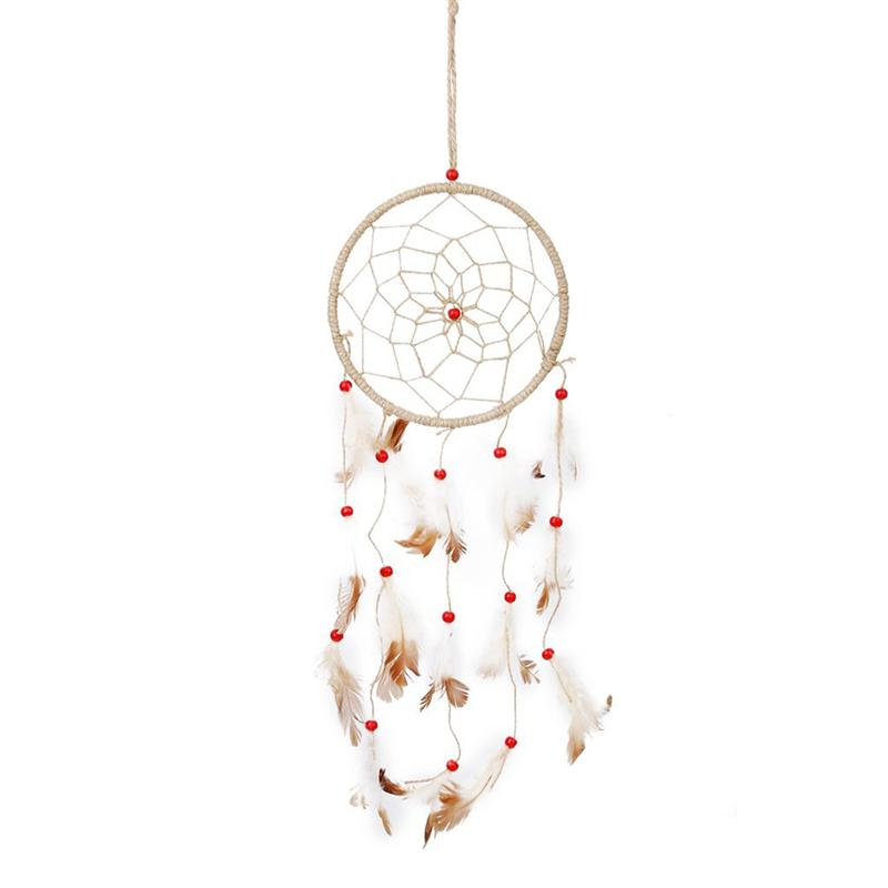 Home & Garden Yard & Garden Decor Handmade Feather And Beads Hemp Rope Dream Catcher Wind Chime Wall Hanging Decoration