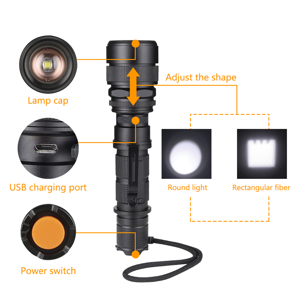Waterproof Aluminum Alloy Telescopic LED Bulbs Rechargeable Torch Night Flashlight for Hiking Hunting Climbing Travel Camping