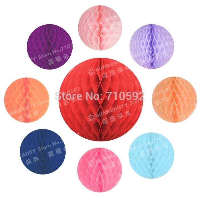 100pcs 8cm Various Colours Tissue Paper Honeycomb Balls Paper Hanging Balls Wedding Party Daily Home Beautiful Decoration in Party DIY Decorations from Home Garden