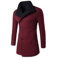 Brand Clothing Men S Winter Houndstooth Designed Thick Blazers Long Overcoat Jackets Windbreak Trench Turn Down