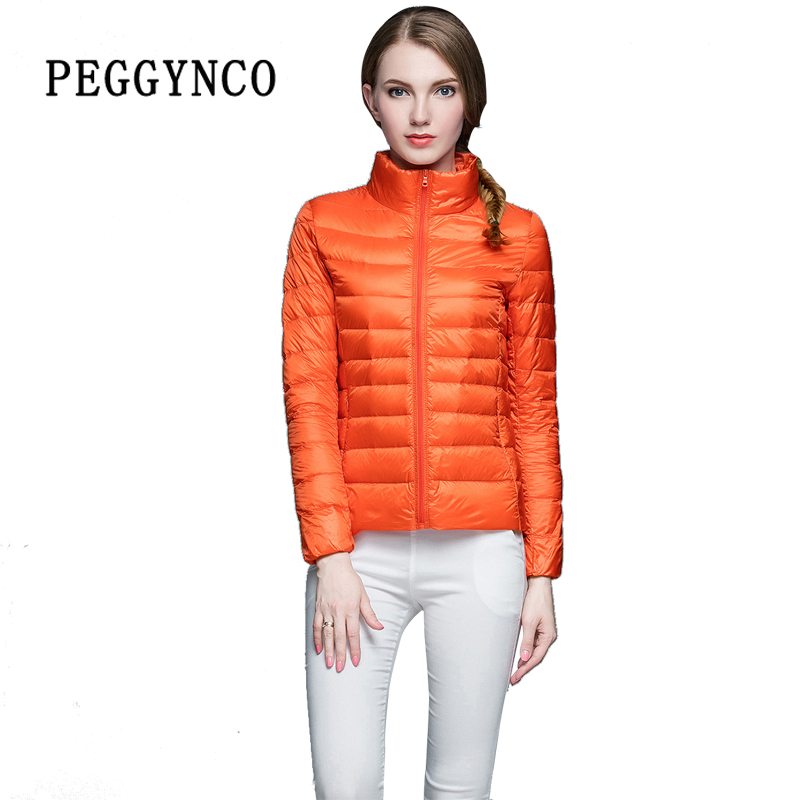 Sping Womens Puffer Coat Pocketable Orange Ultra Light Stand Collar Short Bomber Jacket Thermal PE Padded Female Cotton Coats aqua pe ultra olive 3000m 0 18mm 13 80kg