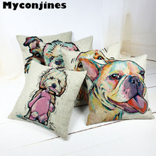 Free Shipping Cartoon and Colorful Dog Cotton Almofada Cojines  45Cmx45Cm Square Home Decor Houseware Cushion Cover