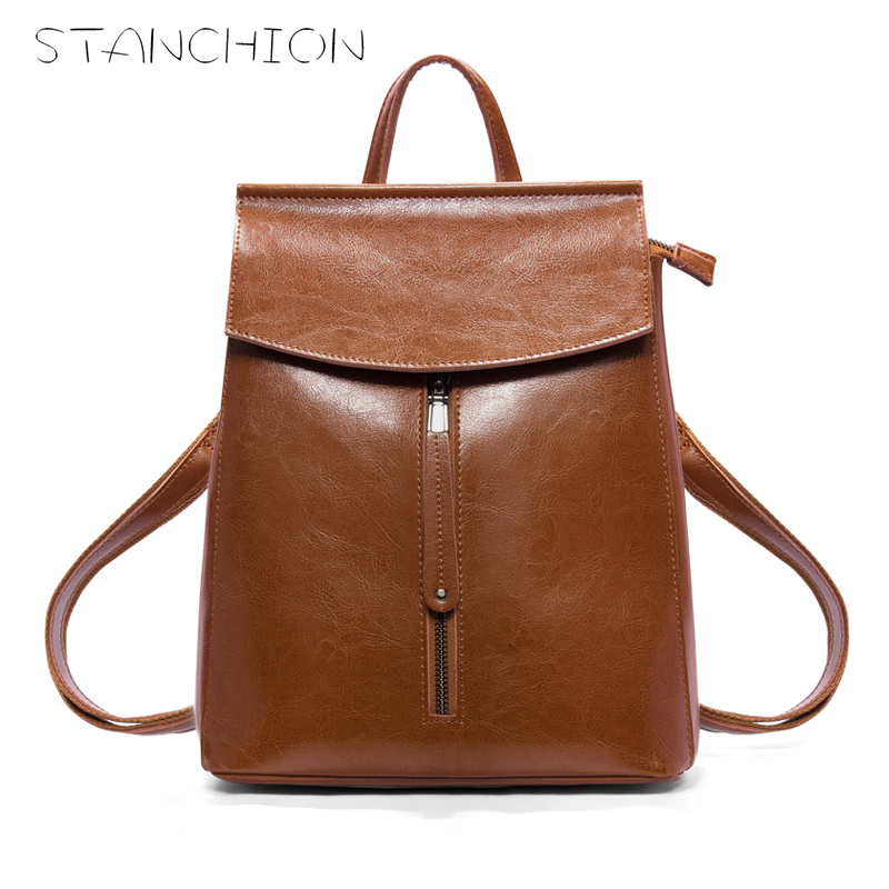 STANCHION Geniune Leather Backpack for Women Solid Color Big Capacity School Bag for Teenage Girls клещи jtc 1346a
