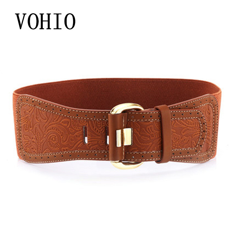 VOHIO Fashion Pin Buckle Carved Lady Is Elastic And Wide Women's Leather Belt Wholesale Manufacturers Direct Sales