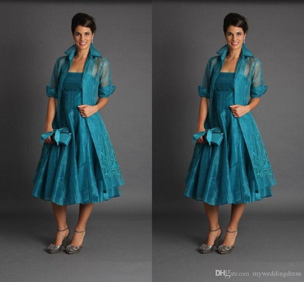 Плюс Размеры Короткие мать блузка невесты платья Половина рукава Чай Длина зеленые костюмы Дешевые вечерние платья из органзы