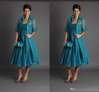 Plus Size Short Mother of The Bride Jacket Dresses Half Sleeve Tea Length Green Suits Evening Gowns Cheap Organza