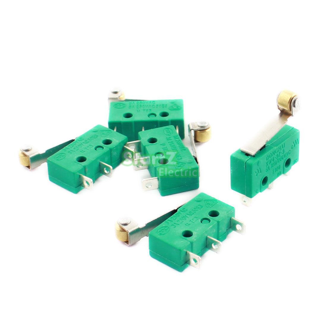 10PCS microswitch limit switch 3pin N/O N/C pulley microswitch KW4-3Z