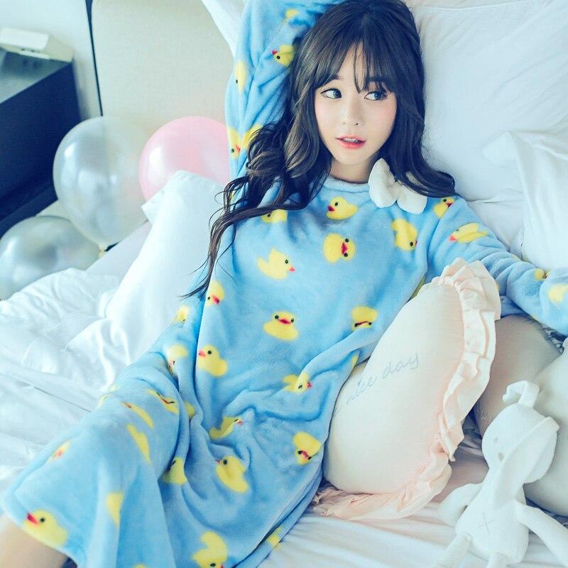 Autumn Winter Women Pajamas Long Sleeved Flannel  Nightgown Duck Loose Coral Velvet Dress Suit Female Home Wear Warm Sleep Skirt