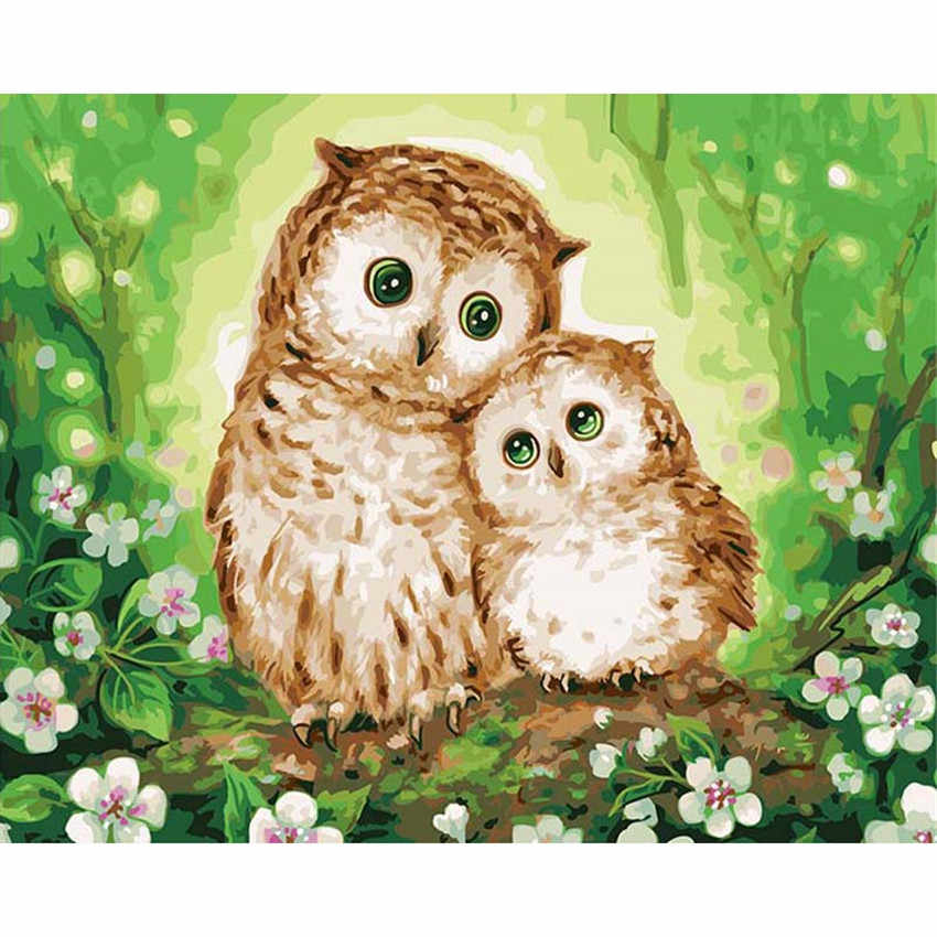 DIY Digital Painting By Numbers Package Affectionate owl oil painting mural Kits Coloring Wall Art Picture Gift frameless
