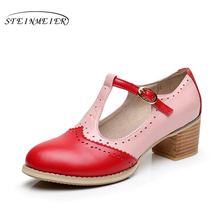 Genuine leather oxford sandals big woman US 9 oxford shoes round toe handmade pink white black 2017 oxfords shoes for women women genuine cow leather summer sandals vintage handmade bow blue pink white oxford shoes for women sandals shoes 2018 spring