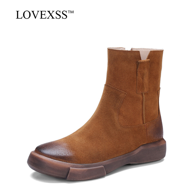 LOVEXSS Oxford Motorcycle Boots Autumn Winter Genuine Leather Martin Boots Black Brown Fashion Woman Flat With Ankle Boots 2017