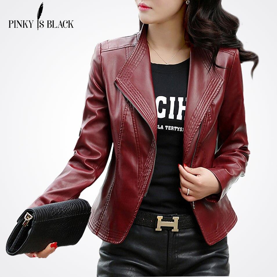 Pinky Est Noir Femmes Veste En Cuir 2017 Nouveau Plus La Taille S-5XL Femmes Vestes Solid Slim Casual PU Cuir Moto Vestes manteaux