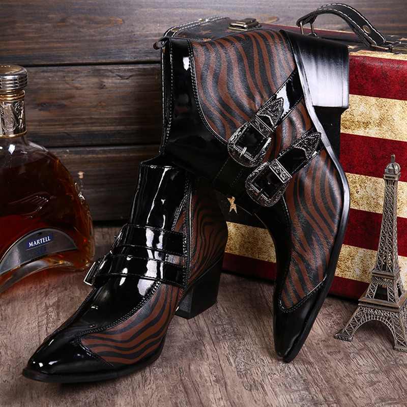 Zebra Pattern Pointed Toe Metal Decoration Men Fashion British Style Brown Men Leather Boots Height Increasing Buiness Boots fashion pointed toe lace up mens shoes western cowboy boots big yards 46 metal decoration