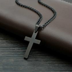 MD Vintage Çapraz Kolye Kolye paslanmaz çelik kolye Siyah Zincir Kolye Kolye Erkekler Kadınlar Erkek Gümüş Zincir Kolye