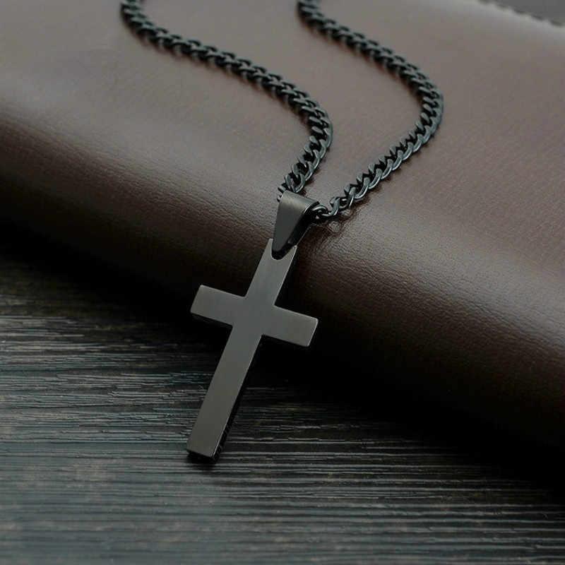 MD w stylu Vintage czarny krzyż wisiorek naszyjnik ze stali nierdzewnej naszyjnik czarny łańcuch wisiorek naszyjnik mężczyźni kobiety Christian jezus naszyjnik