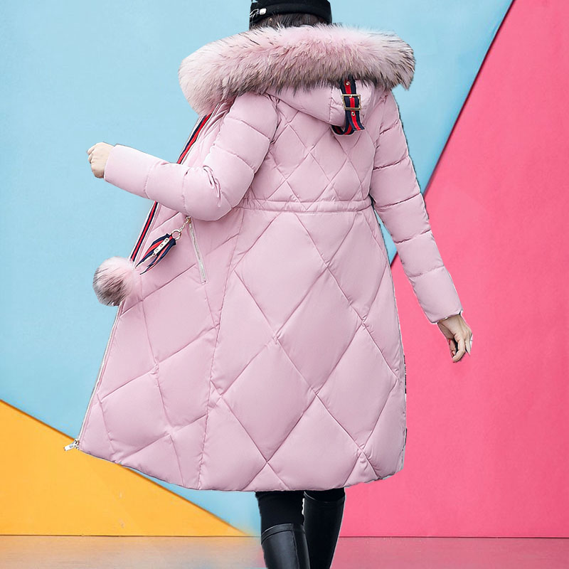 Warm long coat woman winter 2017 new thick jackets female cotton padded down jacket parkas fur collar long sleeve outerwear hot woman winter jacket fur natural fox fur genuine leather jacket long winter coat sleeve three quarter thick womens down jackets