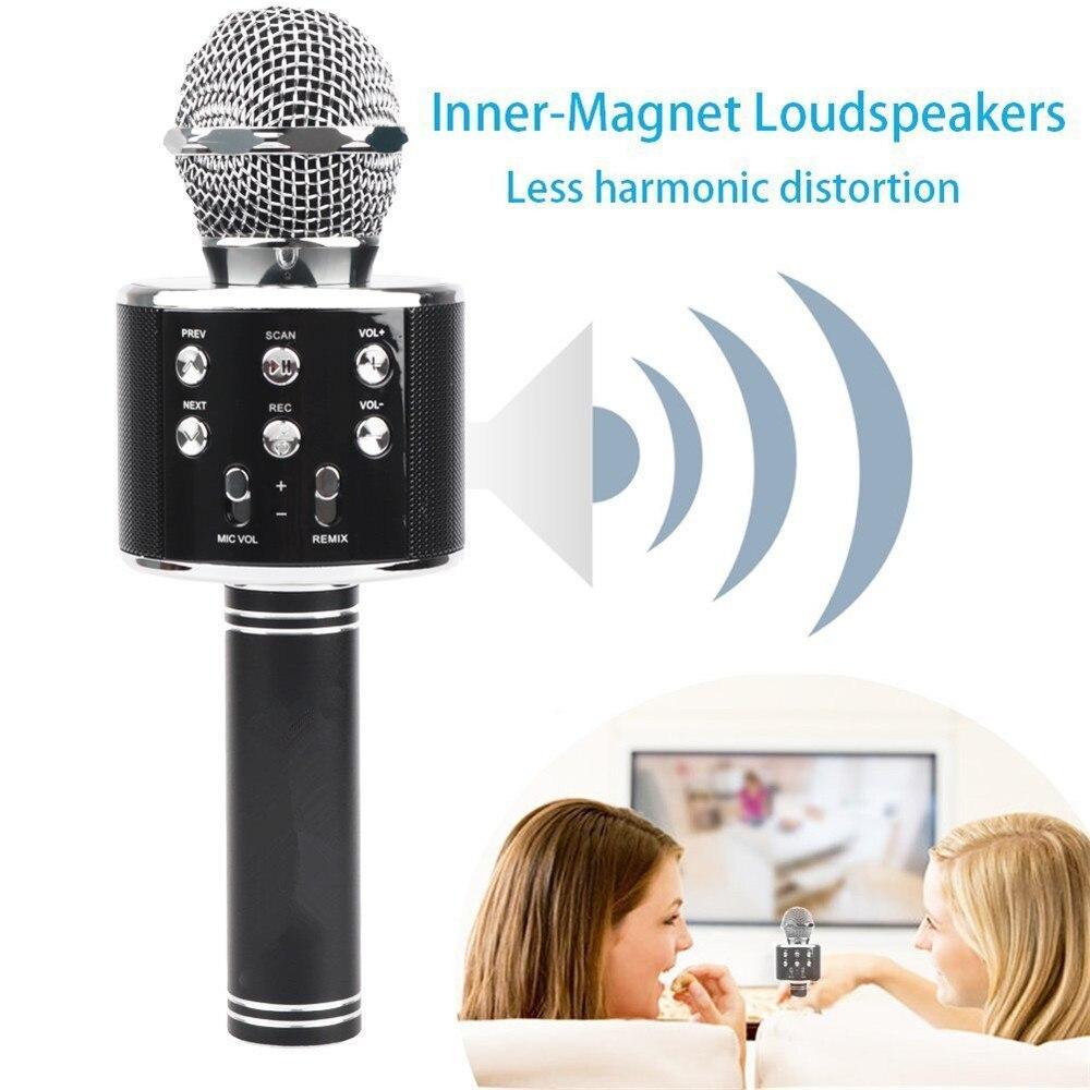 WS 858, беспроводной микрофон, профессиональный конденсаторный микрофон для караоке, bluetooth, стойка, Радио, микрофон, студия записи, WS858