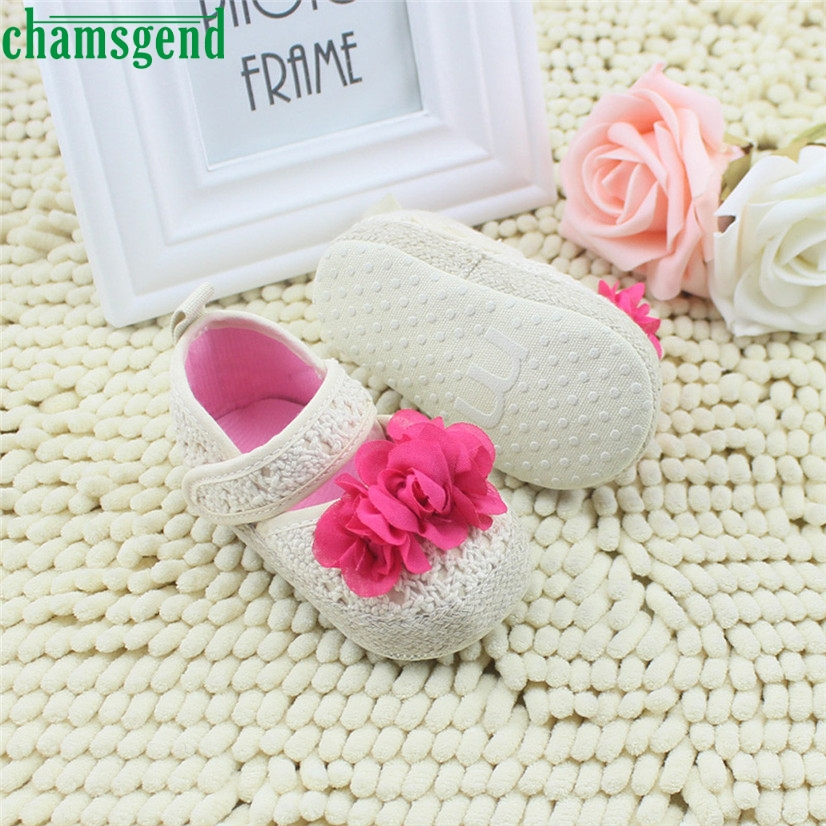 CHAMSGEND Best Seller Infant Toddler Girls Flower Pattern Soft Sole Baby Crib Shoes Cute White S35