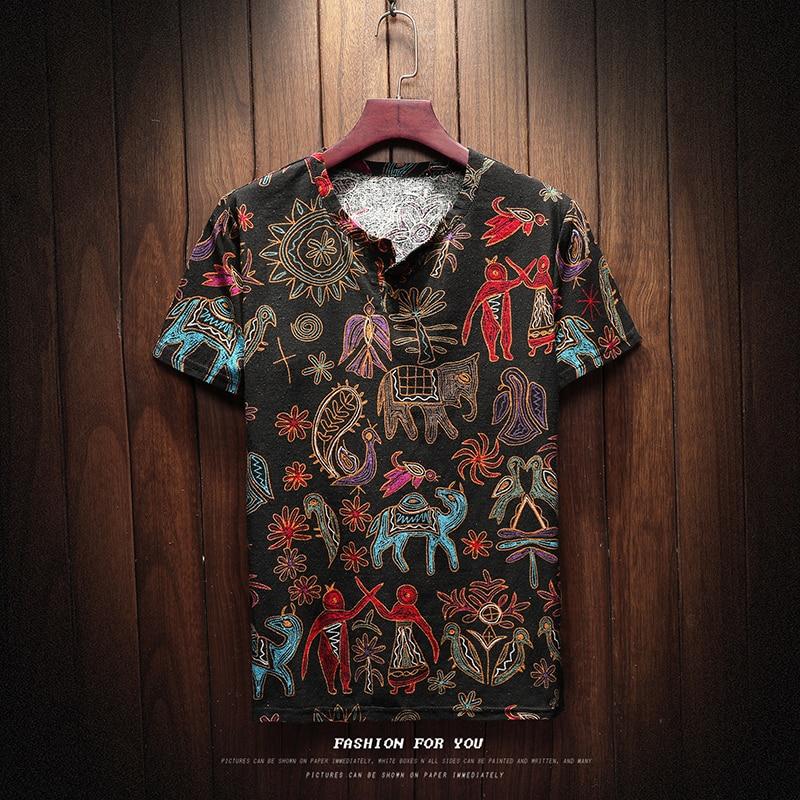 Camiseta de manga corta de verano de lino de algodón de 2018 para hombre, ropa tradicional china de tela fina, camiseta Retro para hombre 8801