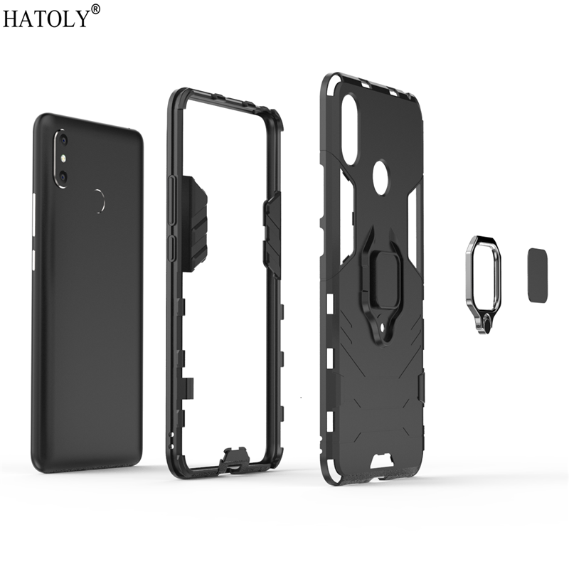 For Cover Xiaomi Mi Max 3 Case Magnetic Ring Phone Holder Stand Case Mi Max 3 Silicone Hard PC Cover For Funda Xiaomi Mi Max 3 in Fitted Cases from Cellphones Telecommunications