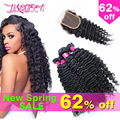 Brazilian Virgin Hair With Closure Deep Wave With Closure Queen Hair Products Human Hair With Closure Bundles With Closure