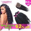 Cabelo brasileiro virgem com fechamento profunda onda com fechamento queen hair produtos pacotes com fecho de cabelo humano com fecho