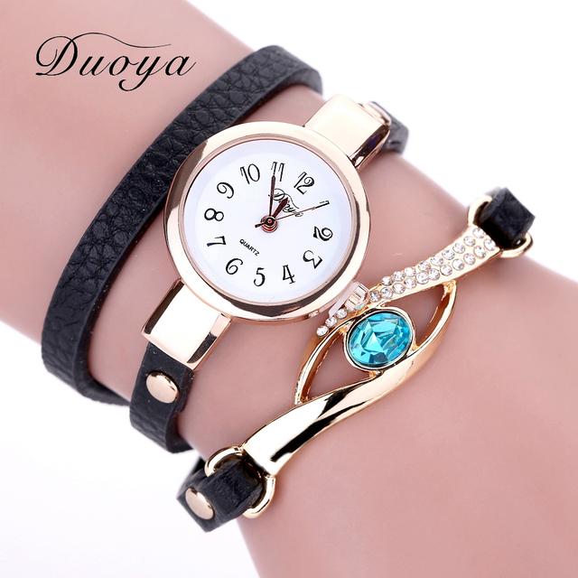 Duoya Brand Watch Women Luxury Gold Eye Gemstone Dress Watches Women Gold Bracelet  Halloween Gift Leather Quartz Wristwatches