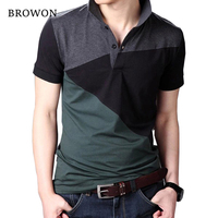 Plus Size 2016 Summer Casual Men T Shirt Patchwork Short Sleeve Turn Down Collar Cotton Blend