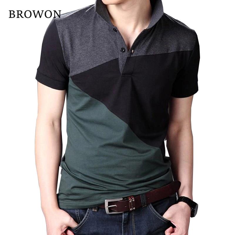 Plus Size 2020 Summer Casual Men T shirt Patchwork Short Sleeve Turn down Collar Cotton Blend