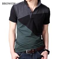 Plus Size 2016 Summer Casual Men T Shirt Patchwork Short Sleeve Turn Down Collar Cotton Blend