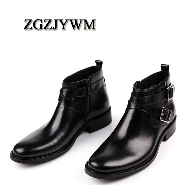 ZGZJYWM New Pointed Toe Slip-On Ankle Boots Men Hombre Genuine Leather Men Motorcycle Boots For Men Work High Top Men ShoesZGZJYWM New Pointed Toe Slip-On Ankle Boots Men Hombre Genuine Leather Men Motorcycle Boots For Men Work High Top Men Shoes
