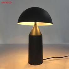 Moda włoska biały czarny Metal grzyb lampa stołowa sypialnia salon Hotel lampy stołowe, lampa studyjna biurowa