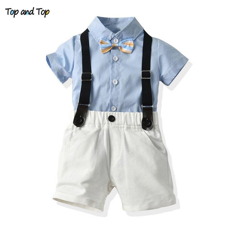 Newborn Baby-Boy-Set Outfit Overalls Short-Sleeve Striped Gentleman And 2pcs Summer Shirt