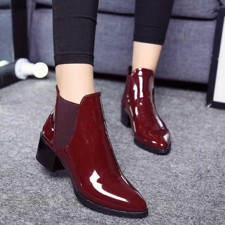 SLYXSH YENI Kadın Botları PU düz ayakkabı yarım çizmeler Kadın Motosiklet Botları Sonbahar Kadın Ayakkabı Kış deri çizmeler