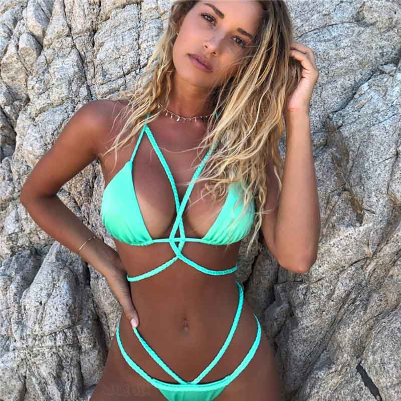 Sexy triangle push up women swimsuit bikini set 2017 summer Brazilian beach female swimwear swim sport wear bathing suit biquini