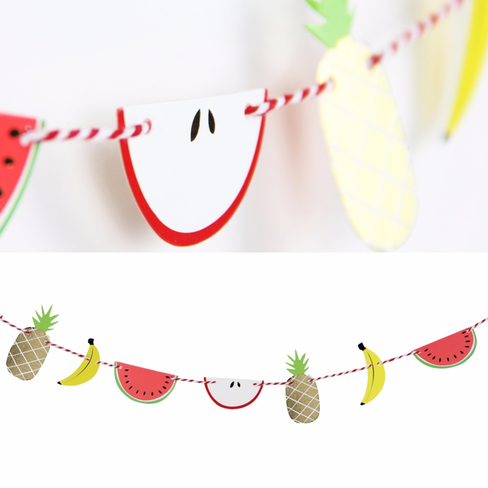 Hot Summer New 1Pcs 2m Mini Fruit Banner Party Kids Birthday Baby Shower Parties Decoration Hanging Flag